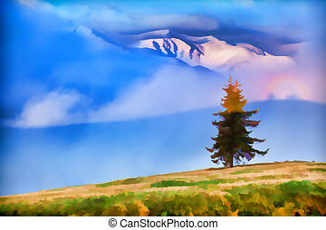 Early spring in the mountains - Digital artwork in...