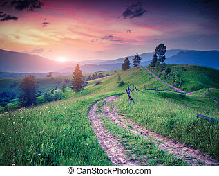 Dark red sky and fresh green grass in the summer mountains....
