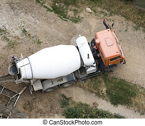 Cement Mixer Truck at work above