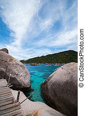 Nangyuan, isla, de, el, claro, Océano, azul, cielo,