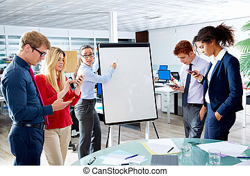 woman presentation distracted people with phone - Executive...