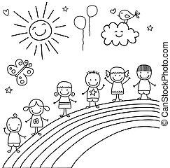 kids on rainbow