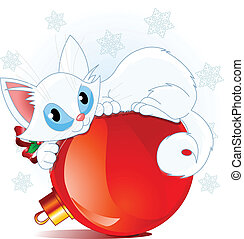 White Christmas cat - A cute white cat lying on a Christmas...