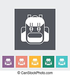 Rucksack. Single flat icon on the button. Vector...