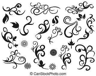 swirling decorative floral design elements - isolated black...