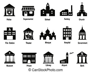 black government building icons set - isolated black...