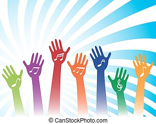 music hand background - colorful hands with music note on...