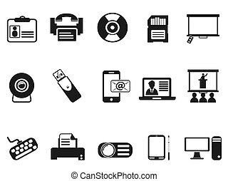 black office technology icons set - isolated black office...