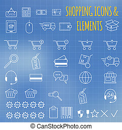 Shopping icon set On bllue background Outline Can be use as...