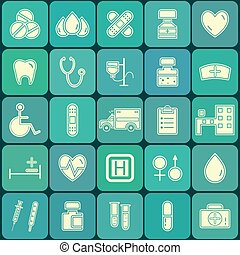 Set of flat Medical and Healthcare Icons