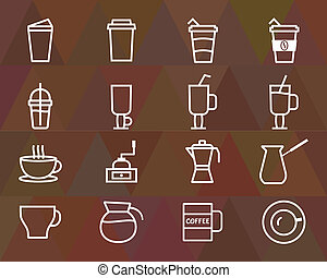 Coffee outline elements and symbol line icon isolated on...