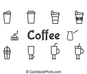 Coffee and cocktails outline elements and symbol line icon isolated on white background. Can be used as icon, logo, elements in infographics on web and mobile app