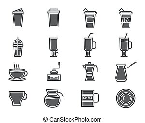 Coffee and cocktails silhouette elements and symbol line icon isolated on white background. Can be used as icon, logo, elements in infographics on web and mobile app.