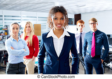 African young businesswoman multi ethnic team
