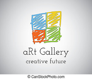 Abstract Hand Drawn Art Gallery Logo design vector template...