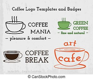 Set of Coffee cafe icons logo and business cards design For...