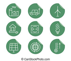 Ecological and environmental protection outline icon set....