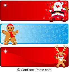 Christmas horizontal Banners - Vector Christmas Banners with...