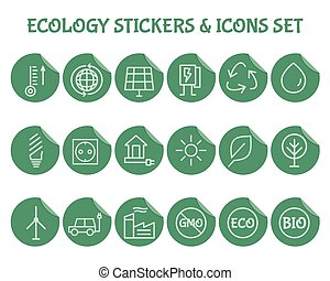 Ecology Outline Icon Set. - Green, Ecology and environmental...