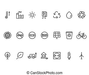 Ecology Line Icons Set - Green, Ecology and environmental...
