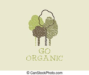 Organic eco green template Vintage ecology poster, banner...