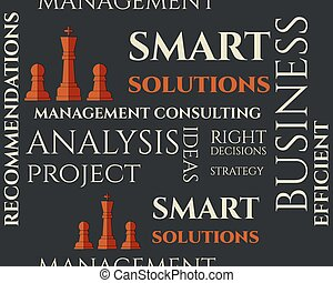 Smart solutions seamless pattern with management Consulting...
