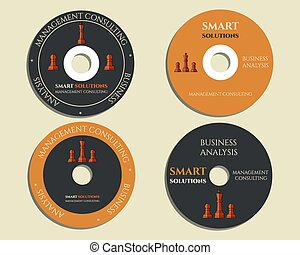 Business CD, DVD templates. sign, icon. Compact, disc, symbol. Chess Smart solutions design with company logo. Best for management consulting, finance, law companies. Vector