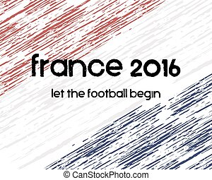 France 2016 Football poster Retro stylish France flag...