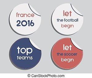 excepcional, Conjunto, colores, marca, fútbol,  -, aislado, francia, Etiquetas, Plano de fondo, brillante,  vector,  2016, Pegatinas, nacional, identidad, diseño