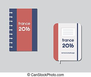 Corporate identity template design. Corporate branding. France 2016 Football. The national colors of France. Isolated on bright background. Vector
