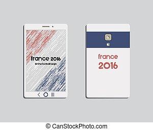 colores,  branding, móvil, nacional, aislado, fútbol, francia, Plano de fondo, brillante,  vector, identidad, plantilla, Dispositivo, francia,  2016, corporativo,  smartphone, diseño