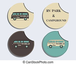 Set of unusual labels - stickers Travel and Camping brand...