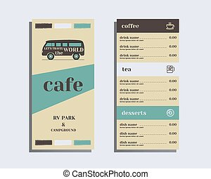 Restaurant and cafe menu Flat design Rv park and campground...