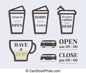 Coffee signs. Open and Closed elements. Rv park and...