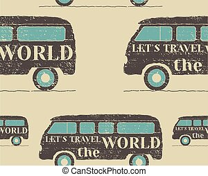 Vintage Seamless pattern camping Retro Rv and motor home...