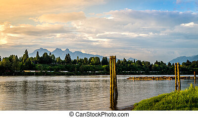 Sunset over the Fraser River near Fort Langley with the...