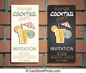 Lounge cocktail party flyer invitation template with Screw...