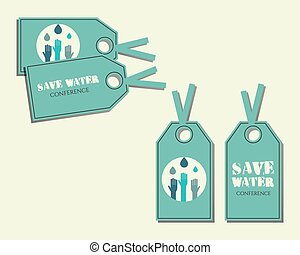 Save water conference stickers and labels invitation template with drops and hands logo template. Isolated on bright blue background. Vector