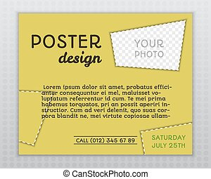 Summer yellow stylish poster invitation template with unusual design. Corporate identity. Isolated on grey background. Vector