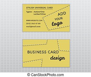 Summer yellow stylish business card and visiting template with unusual design. Corporate identity. Isolated on grey background. Vector