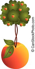 Peach tree in a peach - Scalable vectorial image...