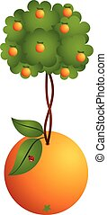 Orange tree in a orange - Scalable vectorial image...