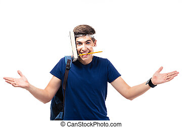 Male student with book and pencil strapped to his head -...