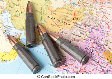 Bullets on the map of Afghanistan - Four bullets on the...