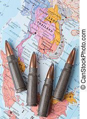 Bullets on the map of Thailand, Vietnam and Laos - Four...