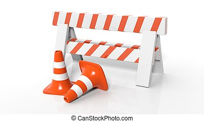 Orange traffic cones and barrier isolated on white...