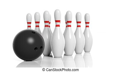Bowling ball and pins isolated on white background