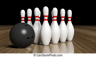 Bowling ball and pins set on wooden floor