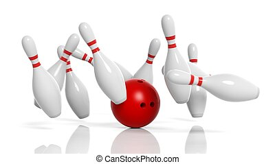 Bowling ball and pins in motion isolated on white background