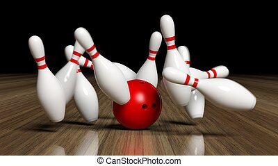 Bowling ball and pins in motion on wooden floor